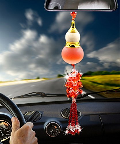 Angela_max Car Ornament Home Decoration Crystal Glass Gourd Perfume Bottle Automotive Rearview Mirror Blessing Safe Journey Symbol Tassel Beads Perfume Car Interior Pendant (red)-Perfume Not in