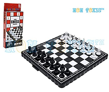 Non Toxic Foldable Magnetic Tavelling Pocket Chess Board Game - L13 x B7 x H4 cm Fits in Hand