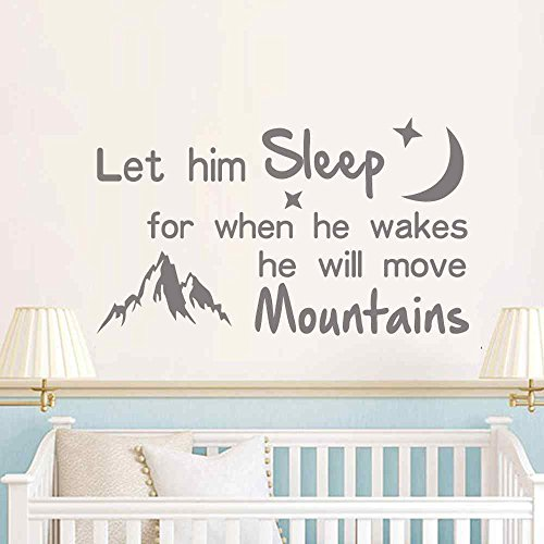 BATTOO Let him sleep for when he wakes he will move mountains - Kids Room Vinyl Lettering Nursery Wall Decal Quotes(White, 20