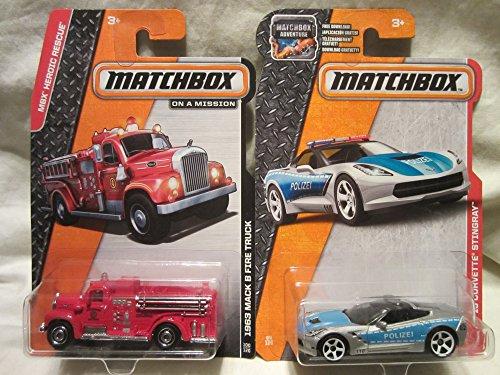 Matchbox MBX Heroic Rescue 1963 Mack B Fire Truck & '15 Corvette Stingray Police Die Cast 1/64 Scale 2 Car Bundle!