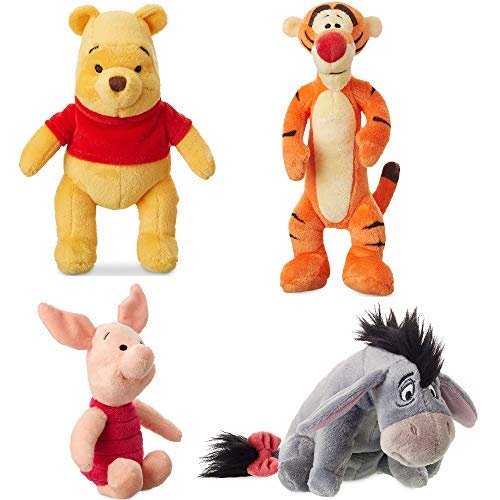 Disney Store Original Winnie The Pooh Mini Bean Plush Doll Set - Tigger, Eeyore, Piglet and Pooh