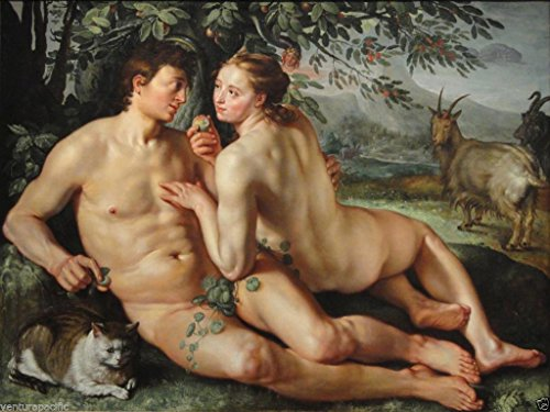 The Fall of Man [Adam & Eve] Hendrik Goltzius circa - Dutch Men Nude