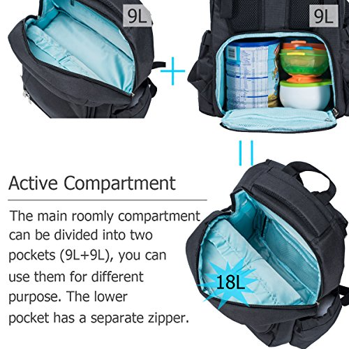 Cateep Baby Diaper Backpack Bag Smart Organized with Stroller Clips and Changing Pad