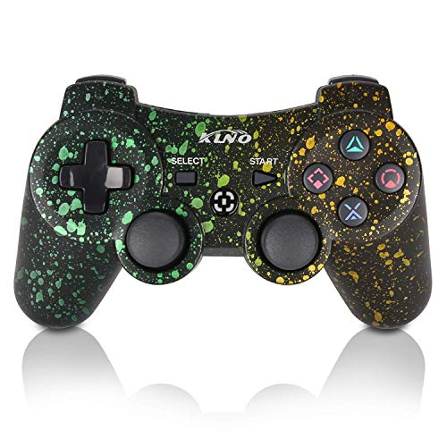 PS3 Controller Wireless Dualshock Joystick - KLNO Bluetooth Gamepad Sixaxis, Super power, USB Charger, Sixaxis, Dualshock3 including 1 cable (Spot Art Color)