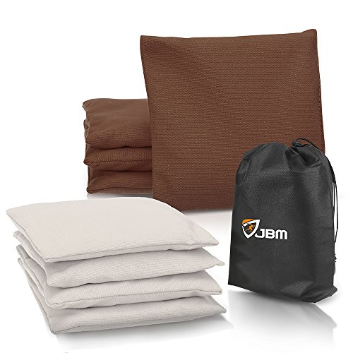 JBM Cornhole Bag (Pack of 8) Weather Resistant Cornhole Bags with Recycled Plastic Pellets for Tossing Corn Hole Game - Free Carrying Bag Included (Brown & White, - Bag Bean Brown