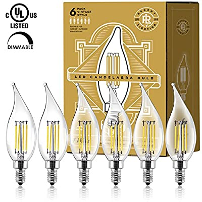 LED Vintage Candelabra Light Bulbs (6) - Edison Filament Flame Tip - 4 Watt - Dimmable - UL Listed - 400 Lumen - Warm 2700K Color - E12 Bulb Base