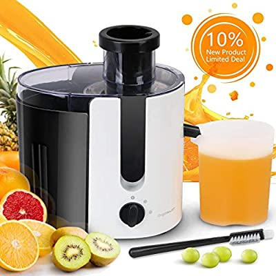 Aigostar Grape - Wide Mouth Centrifugal Juicer BPA-Free Food Grade, Stainless Steel Dual Speed Setting Juicer Machine Anti-drip Function, Non-Slip Feet
