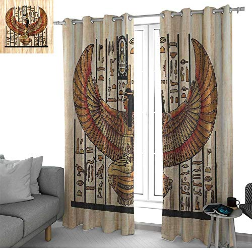 NUOMANAN Bedroom Curtain Egyptian,Ancient Religion Historical Art Egyptian Parchment Texture Background,Ivory Gold and Black,Insulating Room Darkening Blackout Drapes 52