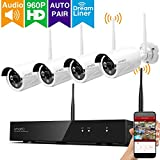 [Dream Liner WiFi Booster] xmartO WOS1344 4CH 960p HD Wireless Security Camera System with 4x960p HD Wireless Outdoor IP Cameras (Built-in Router, 1.3MP Camera, IP66, 80ft IR, No HDD)