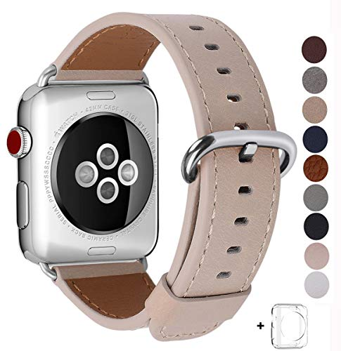 JSGJMY Compatible Apple Watch Band 42mm Women Small Size Light Tan Genuine Leather Loop Replacement Iwatch Strap Stainless Steel Metal Clasp Compatible Apple Watch Series 3/2/1/Edition/Sport
