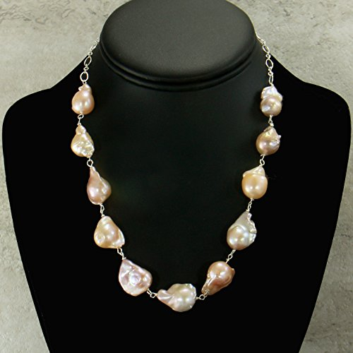 Freshwater Pearl Necklace Strand, AA Quality Mauve Colored Baroque Pearl, Sterling Silver Chain (Pearl Baroque Quality)