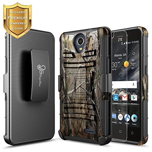 ZTE Maven 3 Case, ZTE Overture 3 Case with [Tempered Glass Screen Protector], ZTE Prelude Plus Case(4G LTE), NageBee [Heavy Duty] Shock Proof [Belt Clip] Holster [Kickstand] Combo Case (Camo)