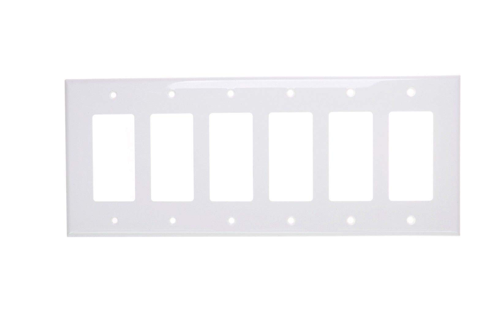 (5 pc) NEW 6-Gang Decorator Wall Plate Cover WHITE Unbreakable Lexan Six