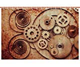 iPrint No Chemical Odor Shower Curtain [ Copper,Mechanical Clocks Details Old Rusty Look Backdrop Gears Steampunk Design Decorative,Dark Orange Peach ] Fabric Bathroom Decor Set with Hooks