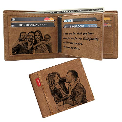 (Custom Engraved Wallet,Personalized Photo RFID Wallets for Men,Husband,Dad,Son,Personalized Gifts)