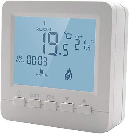 Oops Termostato De Caldera Programable Termostato Digital Con Cable Control De Temperatura De Calefacción Luz De Fondo Blanca 5a Amazon Es Hogar