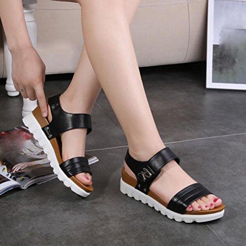 HARRYSTORE 2017 Sandalias de verano de mujeres envejecidas sandalias de moda plana cómodo zapatos de damas Negro