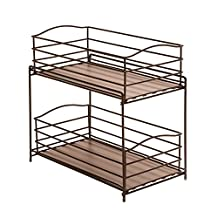 Seville Classics SHE14142 2-Tier Sliding Basket Kitchen Cabinet Organizer, Bronze