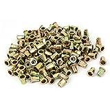 uxcell M6 x 15mm Zinc Plated Half Hex Body Flat Head Rivet Nut Nutsert 200PCS