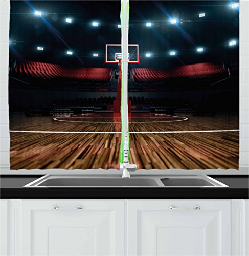 Teen Room Decor Kitchen Curtains by Ambesonne, Professional Basketball Arena Stadium before Game Championship Sports Image, Window Drapes 2 Panel Set for Kitchen Cafe, 55 W X 39 L Inches, Multicolor