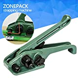 ZONEPACK Heavy Duty Tensioner Cutter Cord Strapping Machine Packing Tools for PET and PP Strap Size: 3/8''- 3/4'' Max Tension 2000N (GREEN)