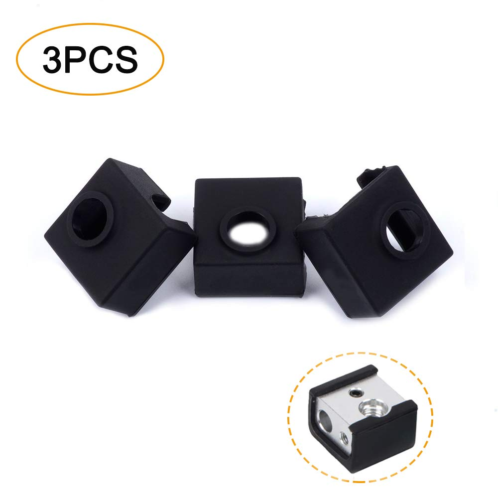 3PCS 3D Printer Heated Block Silicone Cover Creality Accessories Silicone Sock Heating Insulation Case 280℃ High-Temperature Resistant for MK7 MK8 MK9 Hotend for Ender 3 CR10 ANET A8