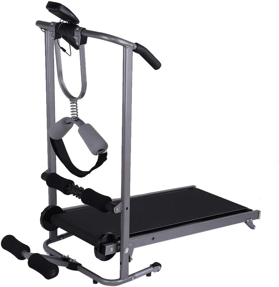 Treadmill Supine Twisting Folding Manual Treadmill,Shock Running Portable Cardio Fitness Exercise Home Jogging Walking Running Machine Massage Four-in-one Mechanical Treadmill