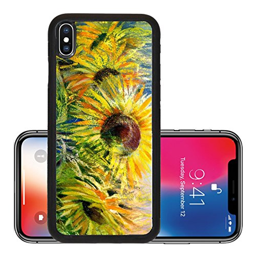 Liili Premium Apple iPhone X Aluminum Backplate Bumper Snap Case The sunflowers drawn by gouache on a paper Photo (Gray Gouache)