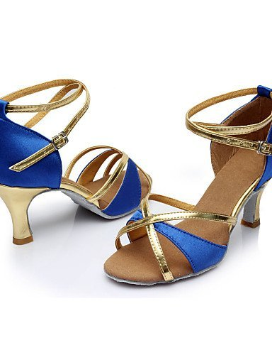 Scarpe Blue Blu Donna Tacco Royal Personalizzabili Marrone Nero Da Con In Rosso Latino Ballo Shangyi Similpelle aprawq