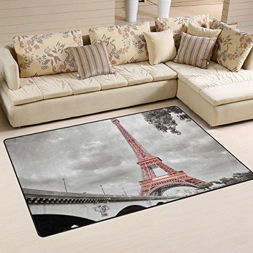 WellLee Area Rug,Monochrome Style Eiffel Tower Bridge Floor Rug Non-Slip Doormat for Living Dining Dorm Room Bedroom Decor 31x20 Inch