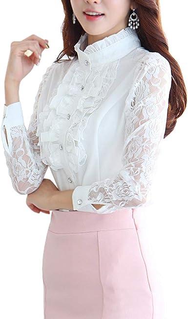 Womens Long Sleeve Button Up Blouse Ladies Fashion Victorian Ruffle Shirt Top