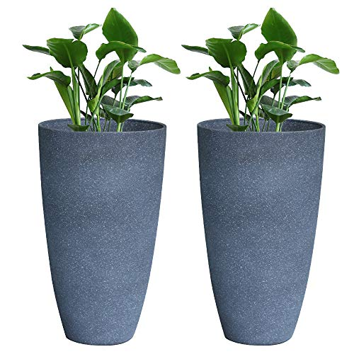 "Tall Planter Set 2 Flower Pots, 20"" Each, Patio Deck Indoor Outdoor Garden Planters, Gray"