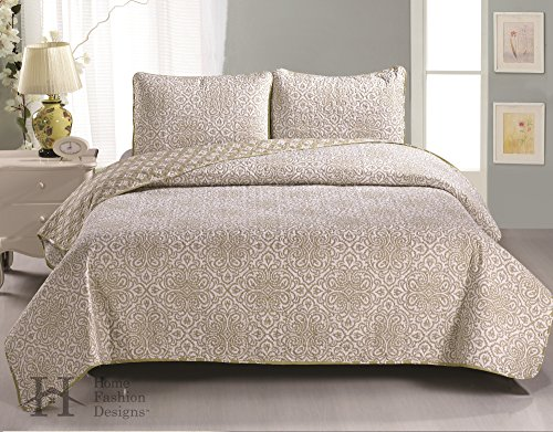 Sibylia Collection 3-Piece Luxury Quilt Set with Shams. Soft All-Season Microfiber Reversible Bedspread and Coverlet with Printed Pattern. By Home Fashion Designs Brand. (Twin, Beige) (Twin Beige Bedspread)