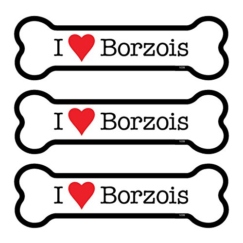 SJT25336 Borzois 3-Pack of 2 x 7 Bone Shaped Car Magnets INC SJT ENTERPRISES
