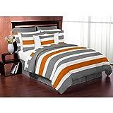 Sweet Jojo Designs Grey and Orange Stripe 3-piece Full/ Queen-size Comforter Set