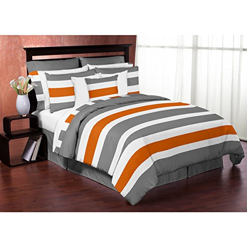 Sweet Jojo Designs Grey and Orange Stripe 3-piece Full/ Queen-size Comforter Set by Sweet Jojo Designs