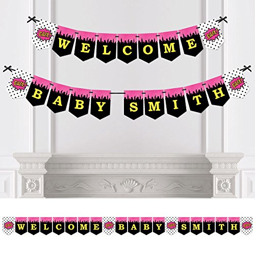 Big Dot of Happiness Custom BAM! Girl Superhero - Personalized Baby Shower Bunting Banner & Decoration - Welcome Baby Custom Name -