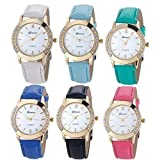 ALPS Women Fashion Rhinstone Inlaid Quartz Dress Wristwatch (6 Pack)