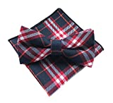 Elfeves Mens Cotton Bow Ties Pocket Square Set Pre-Tied Checks Handmade Necktie