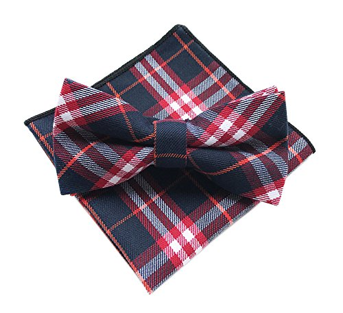 Elfeves Men's Cotton Bow Ties Pocket Square Set Pre-Tied Checks Handmade Necktie