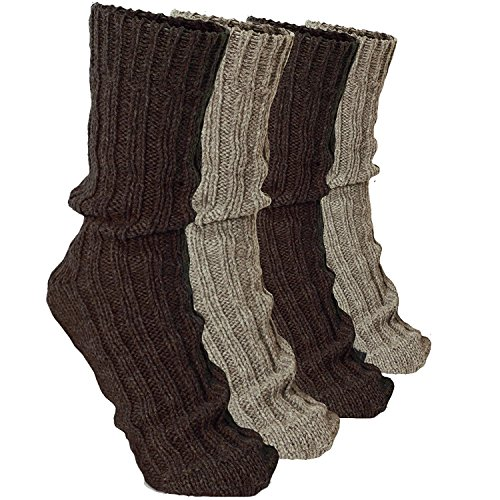 100% Cashmere Socks - BRUBAKER 4 Pairs Thick Cashmere Socks - Browns Colors - Size EU 47-50 / US 12.5-14