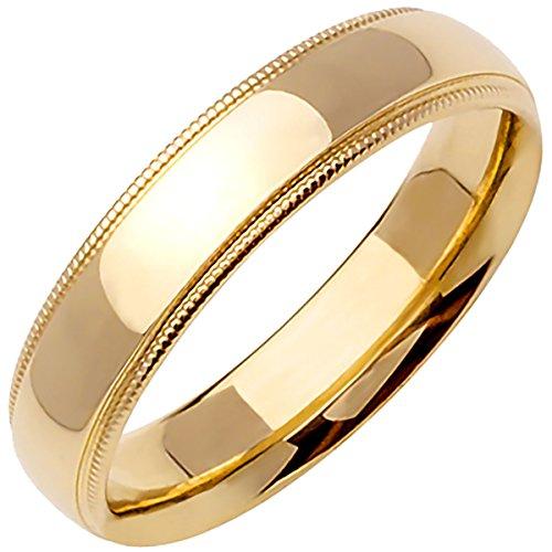 18K Yellow Gold Traditional Milgrain Edge Men's Comfort Fit Wedding Band (5mm) ()
