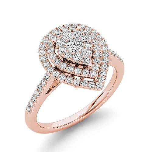 Tdw Diamond Promise Ring - IGI Certified 10k Rose Gold 1/3 Ct TDW Diamond Cluster Pear-Shaped Frame Engagement Ring (I-J, I2)