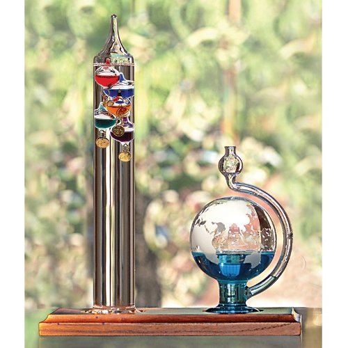 Lily's Home Galileo Thermometer with Etched Glass Globe Barometer, A Timeless Design that Measures Temperatures from 64ºF to 80ºF with a Beautiful Wood Base, 5 Multi-Colored Spheres (9 in x12 in) (Regulator Clock Glass)