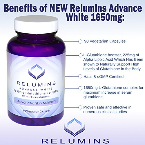 Relumins Advance White 1650mg Glutathione Complex - 15x Dermatologic Formula with Advanced Skin Nutrients (1) by Relumins (Image #3)