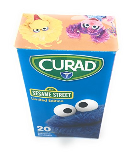 Curad Bandaid Bundle of Four Boxes: Two 20 Count Sesame Street Limited Edition Talking Elmo Box And Two 30 Count Flex Fabric (100 Bandaids)
