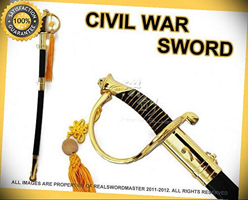 (Full Size 39'' Civil War CSA Confederate Cavalry Officer Sword Saber Gold C.S.A. perfect for cosplay outdoor camping)
