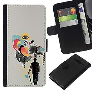KLONGSHOP // Tirón de la caja Cartera de cuero con ranuras para tarjetas - Collage de la cámara Arte Señores Cine - Samsung Galaxy Core Prime //