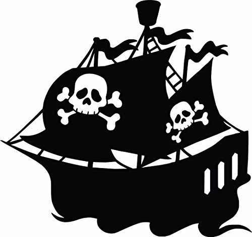Pirate Ship - Pirate boys Vinyl Wall Sticker Decal For Home Décor or kids bedroom - 20 Inches x 20 Inches Color: Black
