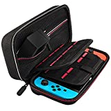 Deruitu Nintendo Switch Case - Fits Original AC Wall Charger - Carrying Case with 29 Games and 2 SD Cards, Hard Shell Travel Carrying Case Pouch for Nintendo Switch Console & Accessories - Black